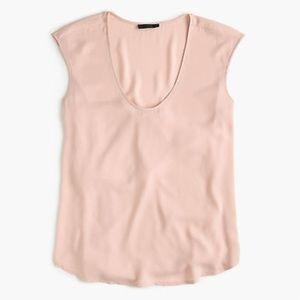 J Crew Cap-sleeve Shirttail Blouse in Blush